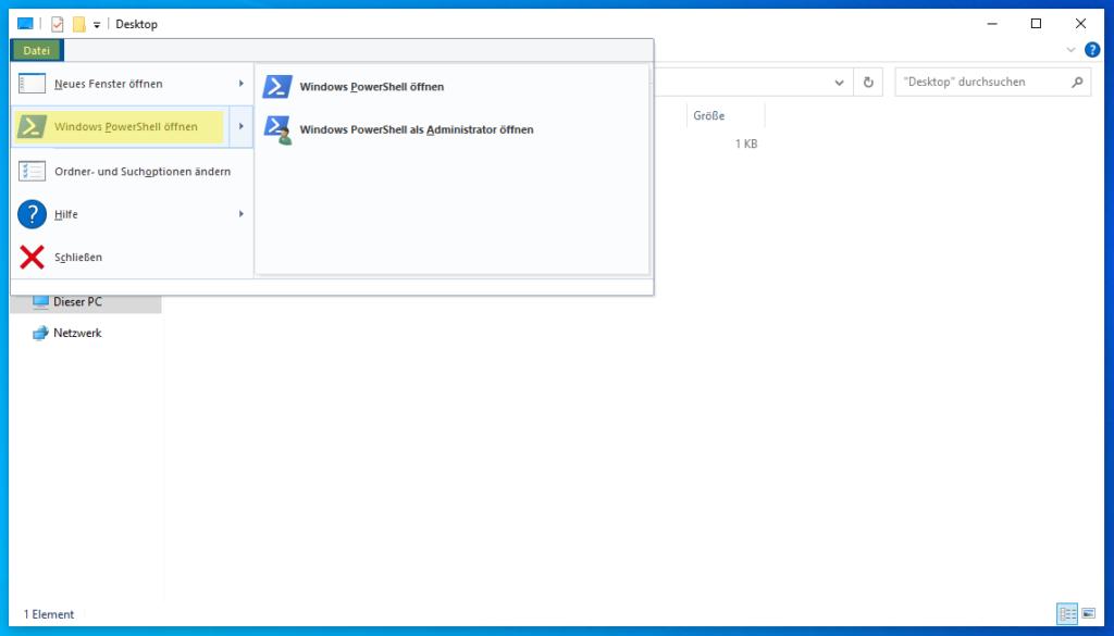 Windows Explorer: PowerShell öffnen