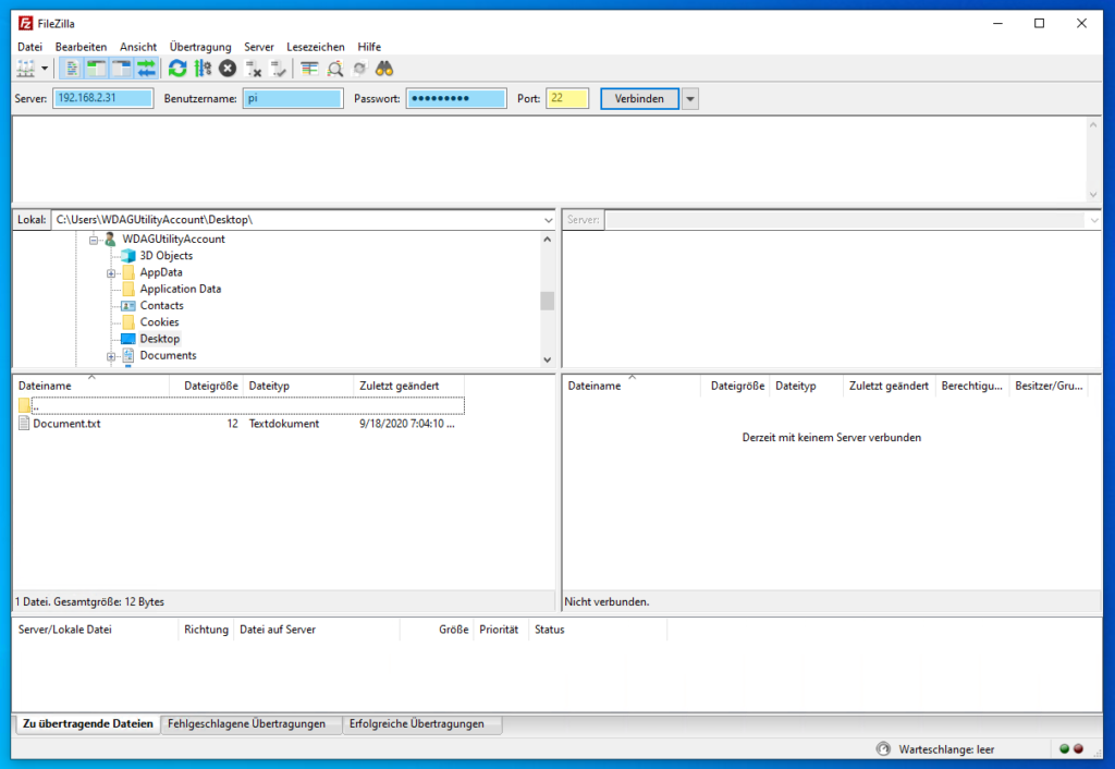 FileZilla: Verbindung über SSH herstellen