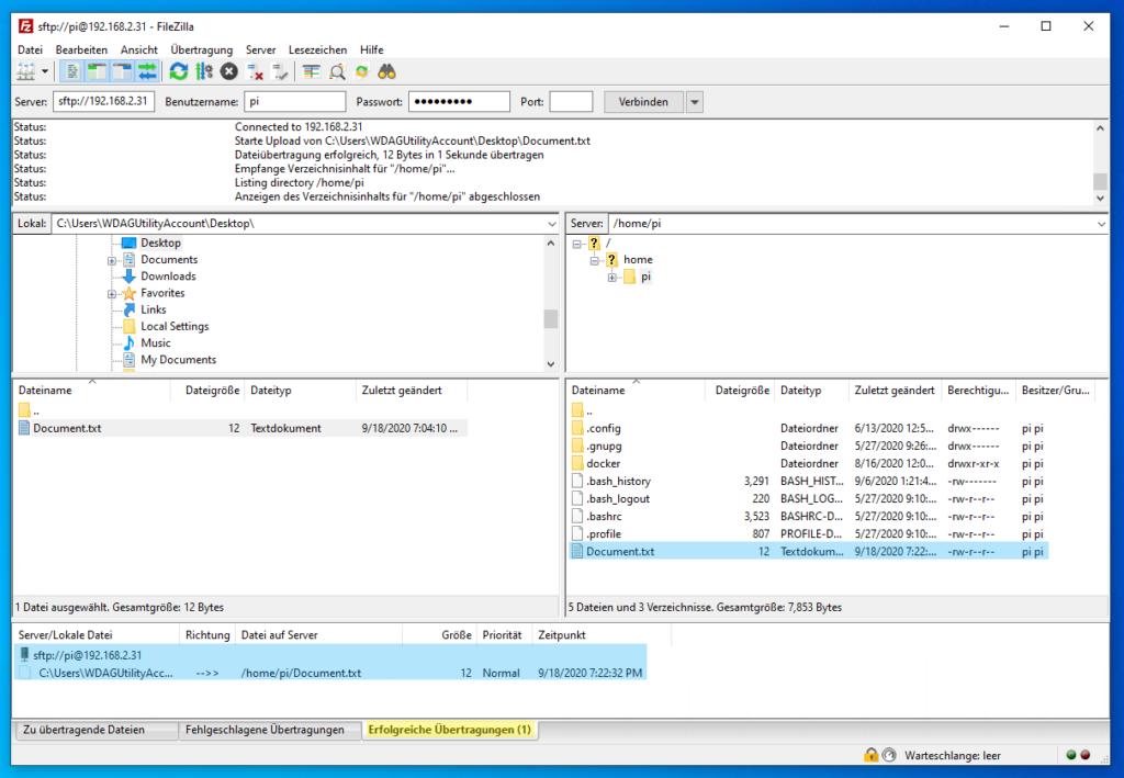 FileZilla: Datei per SSH kopiert