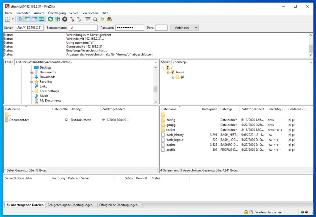 FileZilla: SSH-Verbindung
