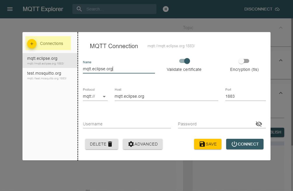 MQTT-Explorer: Neue Verbindung erstellen