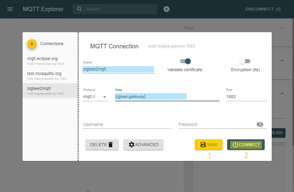 MQTT-Explorer: Speichern und Verbinden