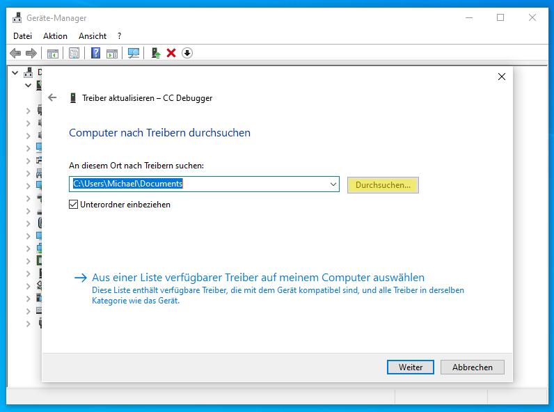 CC-Debugger im Geräte Manager: Computer nach Treiber durchsuchen
