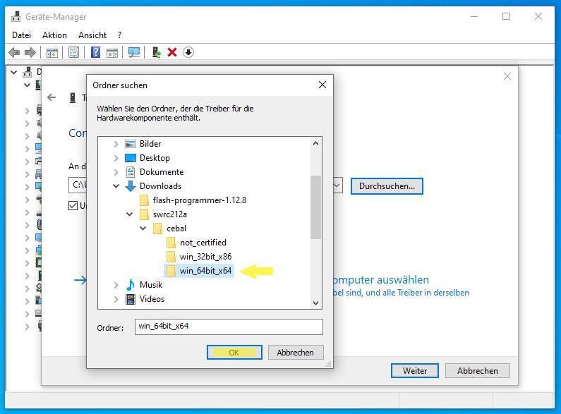 CC-Debugger im Geräte Manager: Ordner mit Treiber auswählen