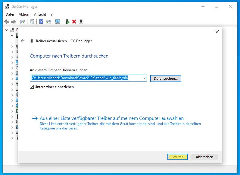 CC-Debugger im Geräte Manager: Ordner mit Treiber ausgewählt