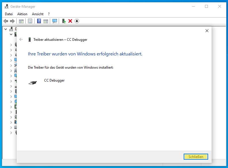 CC-Debugger im Geräte Manager: Treiber installiert