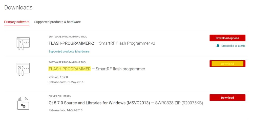 Flash Programmer von Texas Instruments downloaden