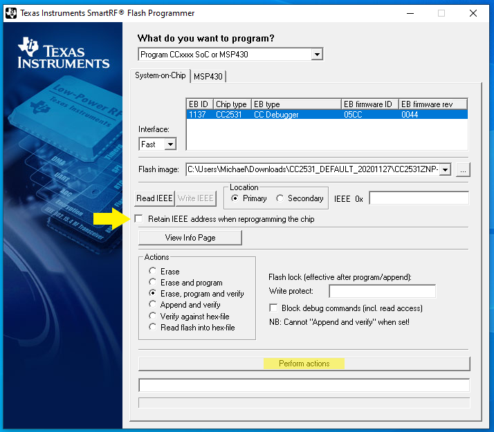 SmartRF Flash Programmer: CC2531 mit Z-Stack Home flashen