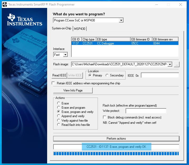 SmartRF Flash Programmer: Erfolgreich geflashte Z-Stack Home
