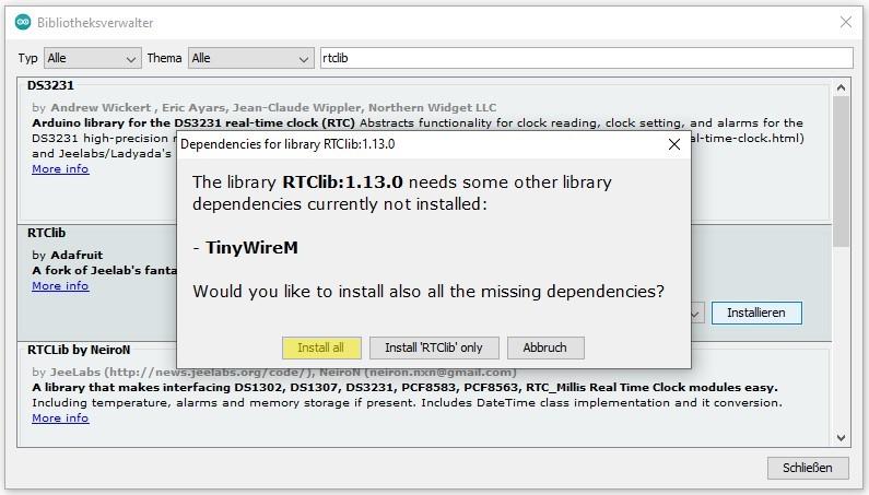 RTC-Modul: RTClib über ArduinoIDE installieren (Abhängigkeiten installieren)