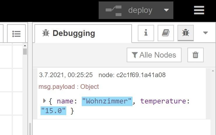 Node-RED Dashboard: Dynamisches UI - Empfangen der Daten im Debug-Log